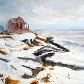 Kristin Morrill Artwork Westerly Coast in Winter, 2011 Oil Painting, Beach