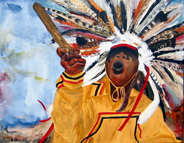 Kristin Morrill  'Powwow Dancer', created in 2008, Original Painting Oil.