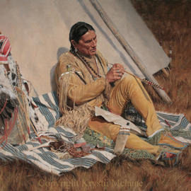 Krystii Melaine: 'Carving Lightning', 2007 Oil Painting, Western. Artist Description:  A Native American sitting outside his tipi, carving lightning bolts onto the shafts of his arrows, so that they will fly with the speed and power of lightning. ...