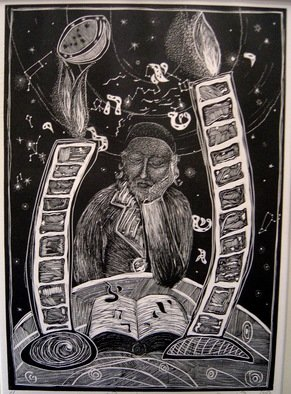 Ksenija Pecaric: 'Dream', 2001 Linoleum Cut, Religious.  Religious and mystical learning of a Rabbi at night  ...
