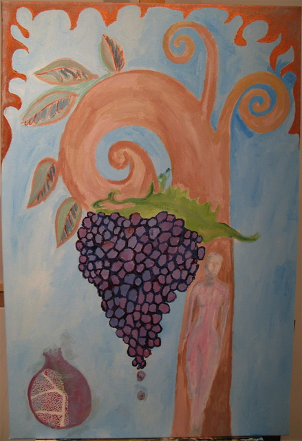 Ksenija Pecaric  'Grapes From The Garden', created in 2010, Original Mixed Media.