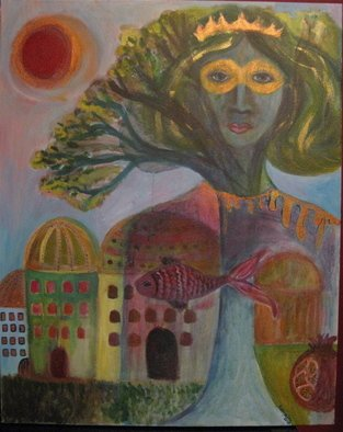 Ksenija Pecaric Artwork Queen Esther and Shushan City, 2011 Acrylic Painting, Judaic