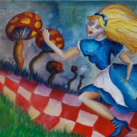 Kelsey Sweet: 'Alice', 2010 Acrylic Painting, Surrealism. Artist Description:   painting, acrylic, alice in wonderland, surreal, sweet, k. sweet, fantasy,   ...