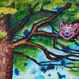 Kelsey Sweet: 'Cheshire Cat', 2011 Other Painting, Surrealism. Artist Description:   Alice in Wonderland Cheshire cat sweet painting modern original    ...