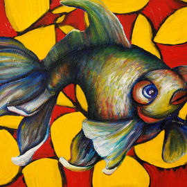 Kelsey Sweet: 'King Mathius IV', 2010 Oil Painting, Surrealism. Artist Description:   painting, oil, fish, pattern, new, sweet  ...