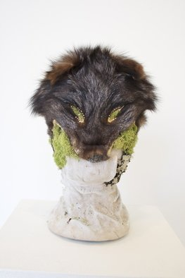 Katrina Brooks: 'Invaders', 2012 Mixed Media Sculpture, Nature. Artist Description:  Head, moss, rock, clay, fox, fur, taxidermy ...