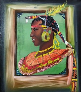 Kumar Mehta: 'masaimara tribal warrior', 2018 Oil Painting, Culture. Artist Description: Masai man painted on canvass with oil colours and features the eligence of Masai tribe of Africa . ...