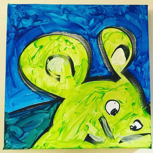 Itsvan Kundelice  'Il Topolino Verde', created in 2019, Original Painting Acrylic.