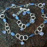 Blue Kyanite And Chalcedony Necklace Bracelet Set, Lisa Schaffer-Doggett