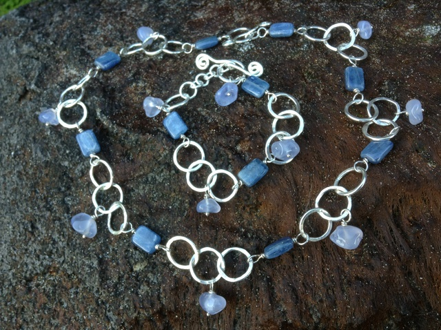 Lisa Schaffer-Doggett  'Blue Kyanite And Chalcedony Necklace Bracelet Set', created in 2014, Original Jewelry.