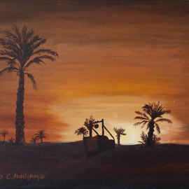Oasis while sunset  By Claudia Luethi Alias Abdelghafar