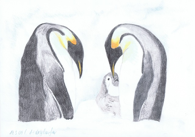 Claudia Luethi Alias Abdelghafar  'Penguin Family', created in 2009, Original Painting.