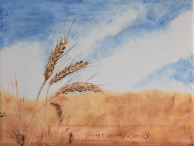 Claudia Luethi Alias Abdelghafar  'Wheat Ears', created in 2019, Original Painting.