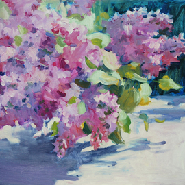 Lena Kurovska: 'Lilacs', 2014 Oil Painting, Floral. Artist Description:  lilacs, oil painting on canvas, still life, plein air ...