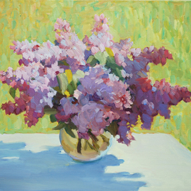 Lena Kurovska: 'Still Life with Lilacs', 2014 Oil Painting, Floral. Artist Description: lilacs, oil painting on canvas, still life, plein air...