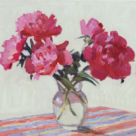 Lena Kurovska: 'Still Life with Pink Peonies', 2014 Oil Painting, Floral. Artist Description: peonies, oil painting on canvas, still life ...