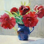 Still Life with Red Peonies By Lena Kurovska