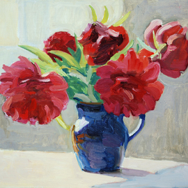 Lena Kurovska: 'Still Life with Red Peonies', 2014 Oil Painting, Floral. Artist Description:  peonies, oil painting on canvas, still life...