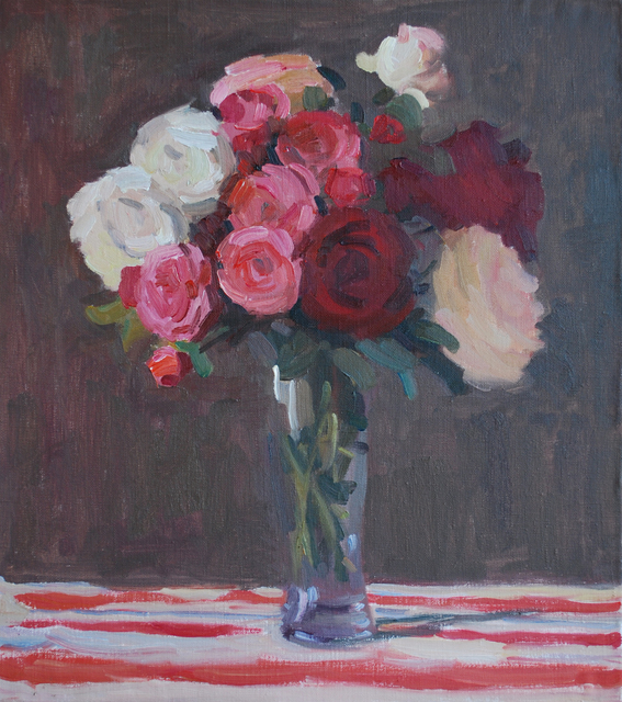 Lena Kurovska  'Still Life With Roses', created in 2013, Original Painting Oil.