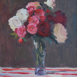 Lena Kurovska: 'Still Life with Roses', 2013 Oil Painting, Floral. Artist Description:  flowers, oil painting on canvas, still life with roses ...