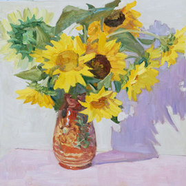 Lena Kurovska: 'Sunflowers', 2010 Oil Painting, Floral. Artist Description: still life with sunflowers, floral, oil painting...