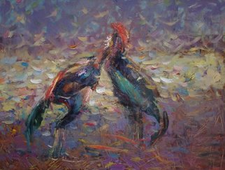 Birds Oil Painting by Doorov Suiorkul Title: Cockfighting, created in 2012