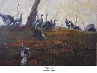 Birds Oil Painting by Doorov Suiorkul Title: Turkeys, created in 2009