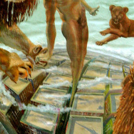 Laisk Serg: ' from darkness to light', 1998 Oil Painting, Nudes. Artist Description:    metropolis, light, darkness, the lion, jaws, canine, takeoff, flight, home, skyscraper         ...