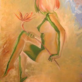 Laisk Serg: ' raskryvshiysya bud', 2009 Oil Painting, Nudes. Artist Description:  nude, nature, girl, flower, bud          ...