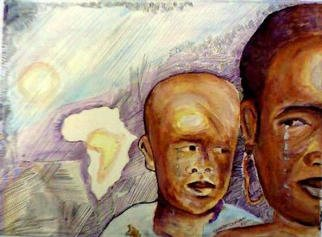 Kehinde Olajide: 'Please   Help', 1997 Watercolor, Children.