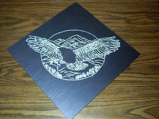 L. Albert Leger: 'The Eagle', 2009 Stone Sculpture, Animals. Artist Description:  etching of an eagle.Done in Monson Maine black slate. ...