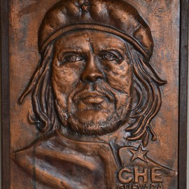 Charalambos  Lambrou: 'Che Guevara', 2009 Other Sculpture, Culture. Artist Description: A Vintage handmade artwork of copper presented Che Guevara. Technique Repousse in copper sheet.Dimensions 32* 42 centimeters included wood frame. Che Guevara was an Argentine Marxist revolutionary, physician, author, guerrilla leader, diplomat, and military theorist. Che Guevara was an instrumental figure in Fidel Castros Cuban Revolution. His ...