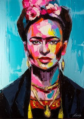 Svetlana Tikhonova: 'frida', 2018 Oil Painting, Celebrity. Artist Description: She might be the most inspiring personality for artists all over the world.Original artwork, palette knife, gallery wrapped canvas. High quality natural pigment oil paints are used. Does not require framing, ready to hang. Covered with varnish to preserve color and protect from dust and moisture.The ...