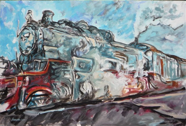 Francisco Landazabal  'Blue Train', created in 2017, Original Painting Acrylic.