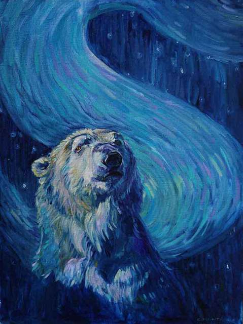 Christine Montague  'Starry Night Polar Bear', created in 2014, Original Painting Oil.