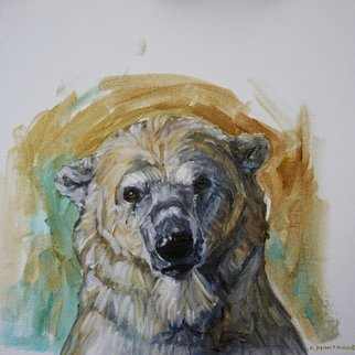 Christine Montague: 'polar bear portrait study 1', 2015 Oil Painting, Animals. Artist Description: beautiful polar bear face study in oil. He almost looks wistful, doesn t he ...