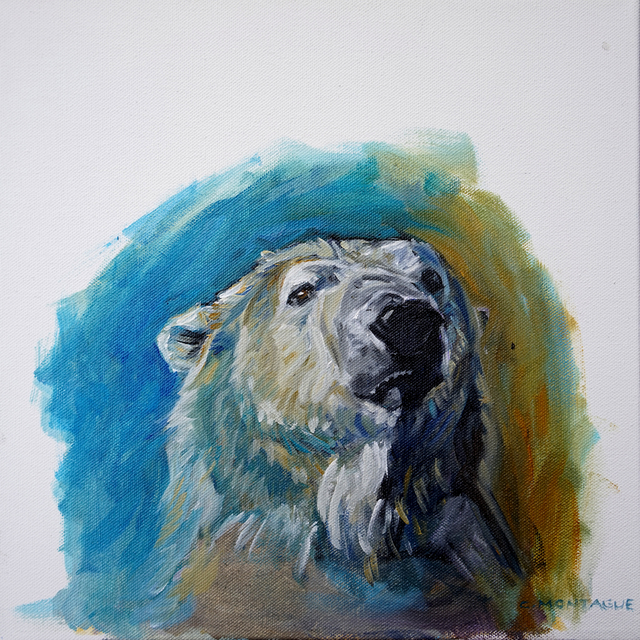 Christine Montague  'Polar Bear Portrait Study 3', created in 2015, Original Painting Oil.