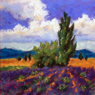 Mary Jane Erard: 'poplar and lavender', 2017 Pastel, Landscape. pastel on board, framed...