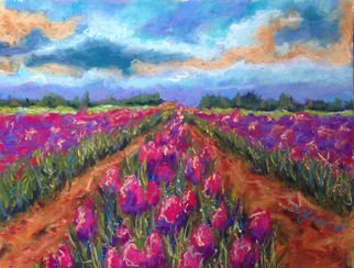 Mary Jane Erard: 'washington tulips', 2017 Pastel, Landscape. Pastel on sanded paper...