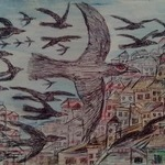 crow and cities By Lanjar Art Studio