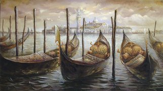 Viktoria Lapteva Artwork Gondolas In SAN MARCO, 2015 Oil Painting, Architecture
