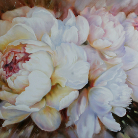 Viktoria Lapteva Artwork Peonies, 2016 Oil Painting, Floral