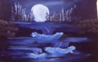 Laraib Yousaf Artwork night fall, 2017 Acrylic Painting, Seascape