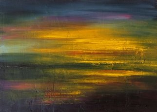 Larissa Uvarova Artwork Painting Colorful Sunset, 2016 Oil Painting, Abstract Landscape