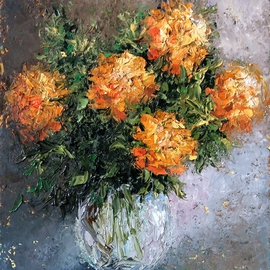 Larissa Uvarova Artwork Painting Marigold, 2015 Oil Painting, Floral