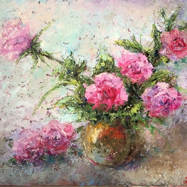 Larissa Uvarova: 'Painting Roses', 2016 Oil Painting, Floral. Artist Description:  Original oil painting, signed on the floral will be great asset to your private collection. This painting was made with brushes and palette knifes, multi- layers. It is perfect for the stylish modern interiors. This painting is unframed, so you can choose the frame size and color by ...