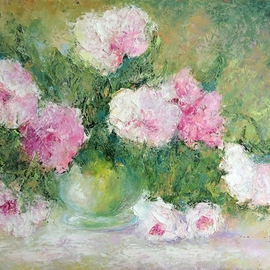 Larissa Uvarova: 'Painting Spring Peonies', 2016 Oil Painting, Floral. Artist Description:  Original oil painting, signed on the front will be great asset to your private collection.This painting was made with brushes and palette knifes, multi- layers.It is perfect for the stylish modern interiors.This painting is unframed, so you can choose the frame size and color by ...