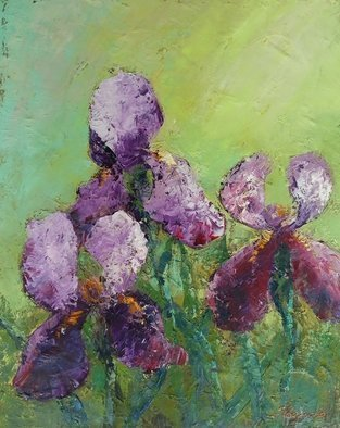 Larysa Uvarova: 'irises', 2020 Oil Painting, Still Life. Original oil on canvas painting was done with high- quality paints and palette knife will be great for the modren interiors. Ready to hang. ...
