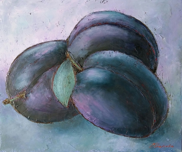 Larysa Uvarova  'Lilac Still Life With Plums', created in 2015, Original Painting Acrylic.