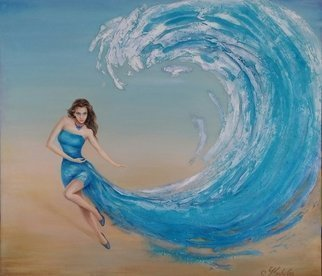 Larysa Uvarova: 'sea wave', 2013 Oil Painting, Fantasy. Original oil on canvas painting was done with high- quality paints and mixed media will be great for the modren interiors. Ready to hang. ...
